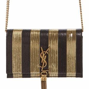 SAINT LAURENT Kate Metallic Stripe Wallet on Chain